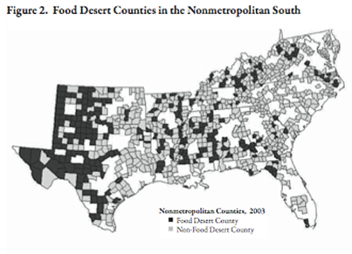 Southeastern food desert counties